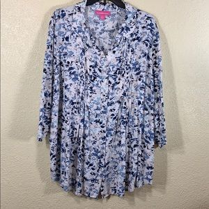 Woman Within Top Blouse 1X Cream Blue Rayon